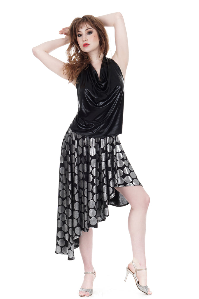 silver dot asymmetric cascade skirt - Poema Tango Clothes: handmade luxury clothing for Argentine tango