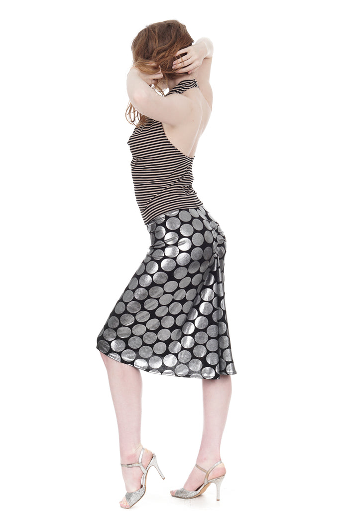 silver dot ruched skirt - Poema Tango Clothes: handmade luxury clothing for Argentine tango