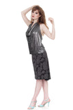 silver feather fluted skirt - Poema Tango Clothes: handmade luxury clothing for Argentine tango