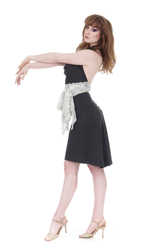 smoke marl ruched skirt - Poema Tango Clothes: handmade luxury clothing for Argentine tango