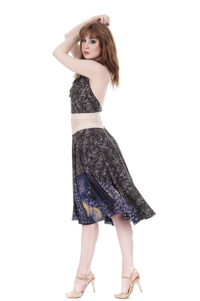 smoky python & shadow silk skirt - Poema Tango Clothes: handmade luxury clothing for Argentine tango