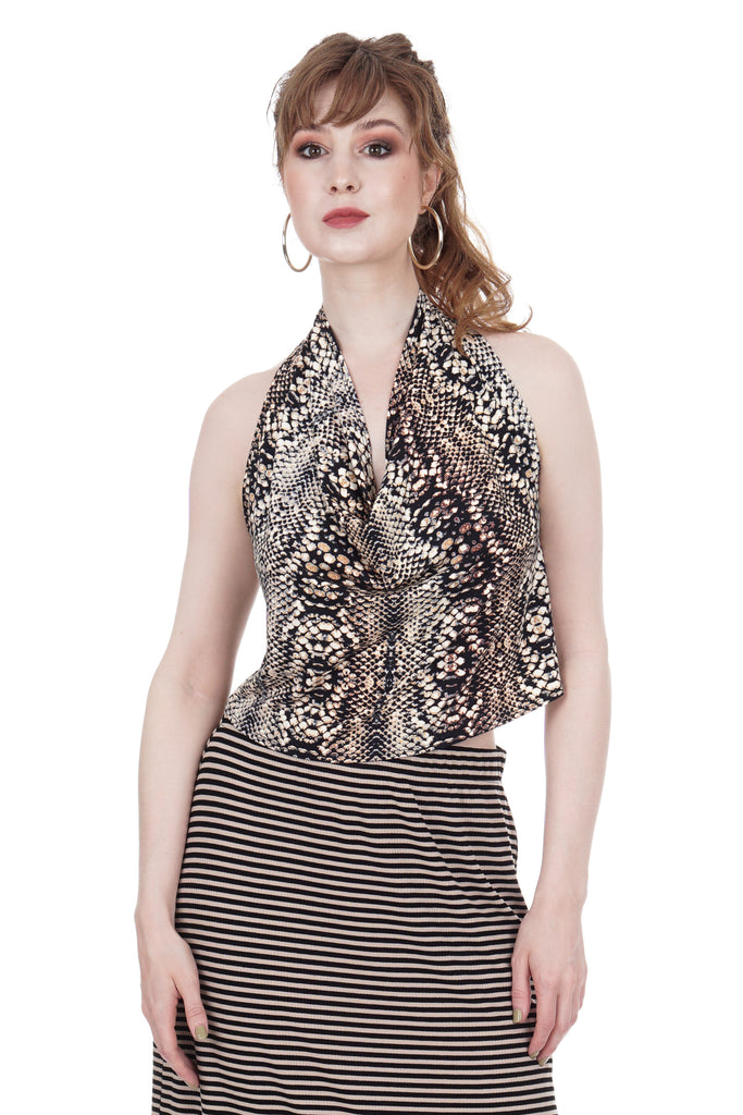 snake scale draped halter - Poema Tango Clothes: handmade luxury clothing for Argentine tango