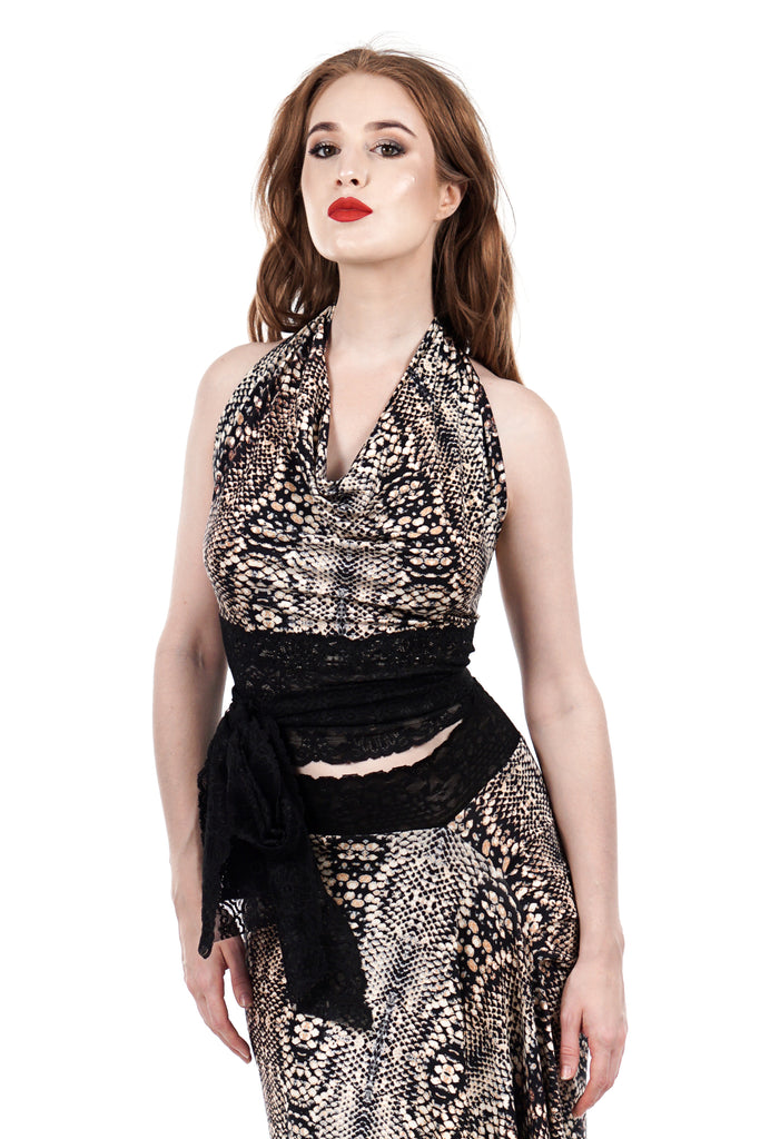snake scale wrap halter - Poema Tango Clothes: handmade luxury clothing for Argentine tango