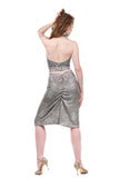 snow shimmer & snowflake lace ruched skirt - Poema Tango Clothes: handmade luxury clothing for Argentine tango