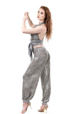 snow shimmer & snowflake lace tango trousers - Poema Tango Clothes: handmade luxury clothing for Argentine tango