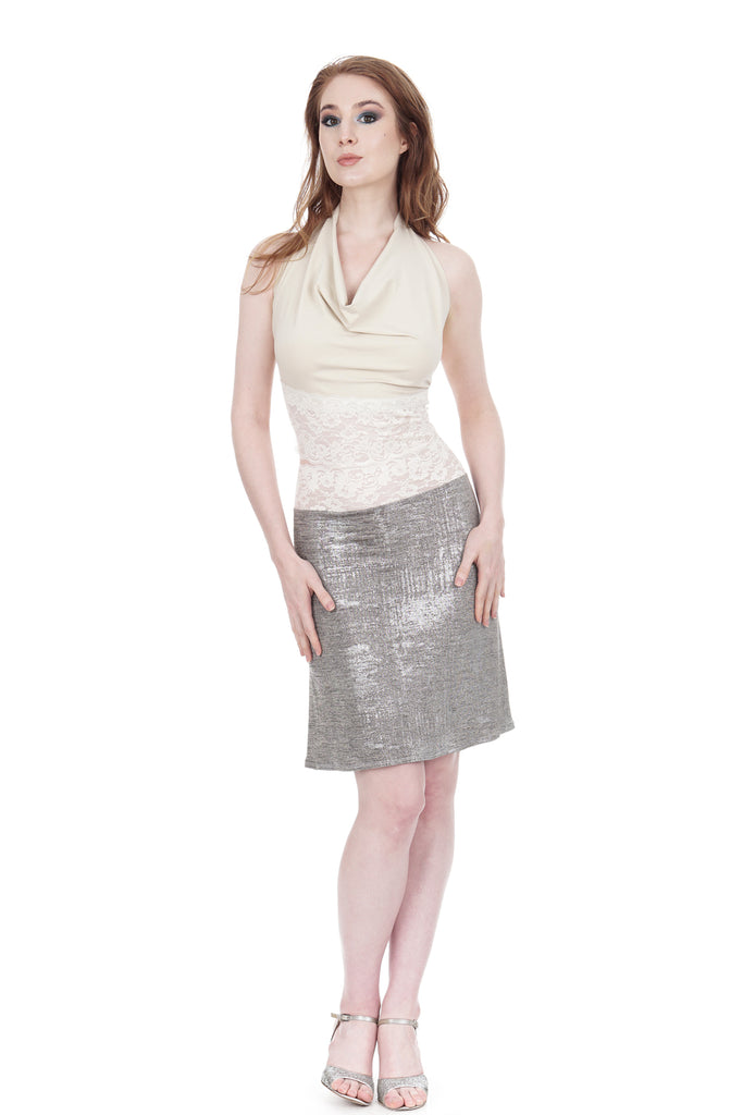 snow shimmer fluted skirt - Poema Tango Clothes: handmade luxury clothing for Argentine tango