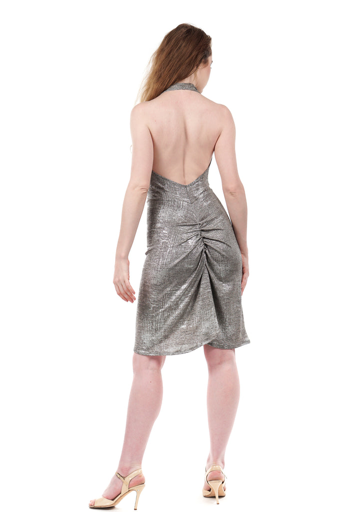 snowy shimmer ruched dress - Poema Tango Clothes: handmade luxury clothing for Argentine tango
