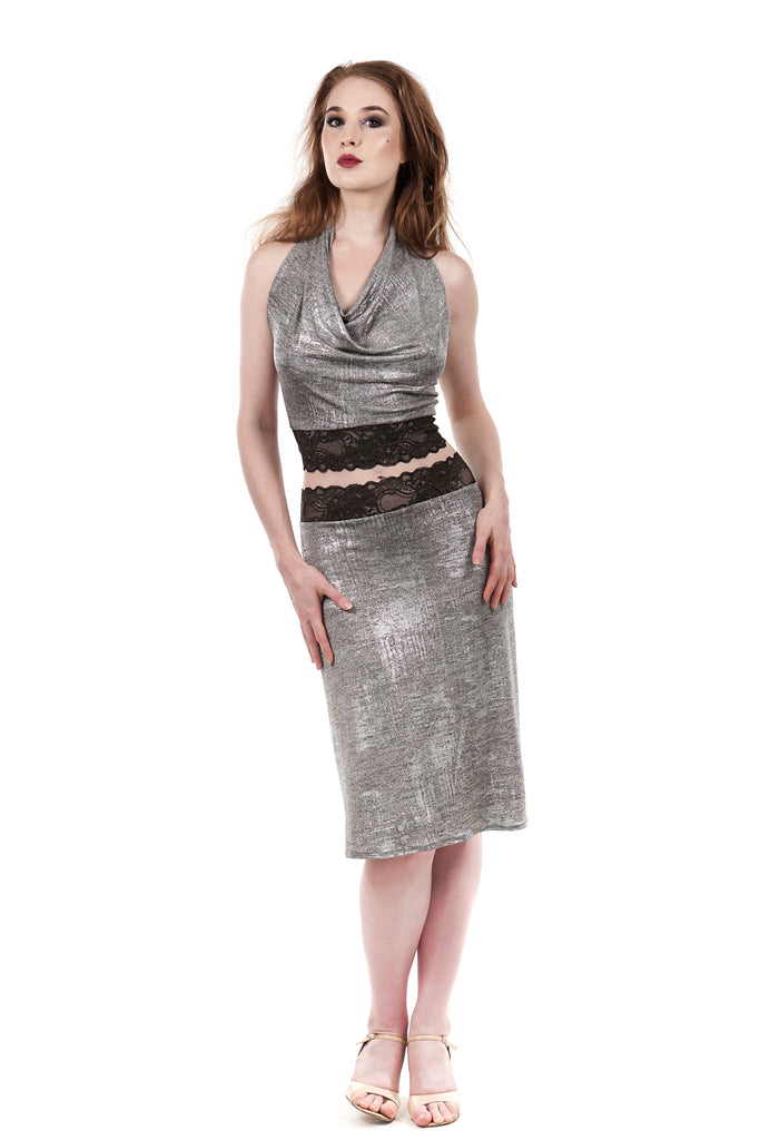 snowy shimmer ruched skirt - Poema Tango Clothes: handmade luxury clothing for Argentine tango