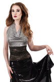snowy shimmer wrap top - Poema Tango Clothes: handmade luxury clothing for Argentine tango
