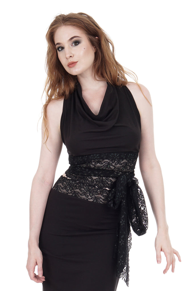 soft black & glitter lace wrap top - Poema Tango Clothes: handmade luxury clothing for Argentine tango