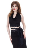 soft black & navy lace wrap top - Poema Tango Clothes: handmade luxury clothing for Argentine tango