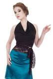 soft black & plum tie-on top - Poema Tango Clothes: handmade luxury clothing for Argentine tango