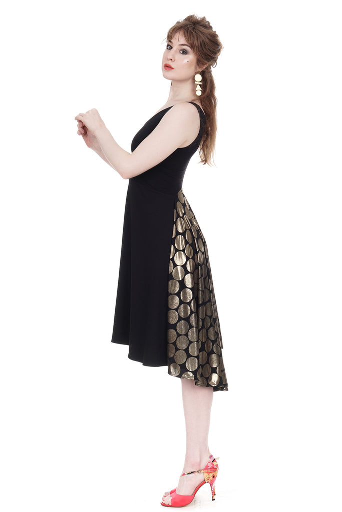 soft black & regal dot tank dress - Poema Tango Clothes: handmade luxury clothing for Argentine tango