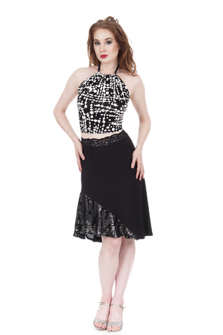 soft black & sequins draped skirt