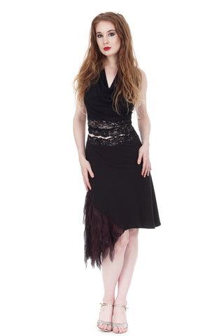 soft black and chiffon feathers draped skirt