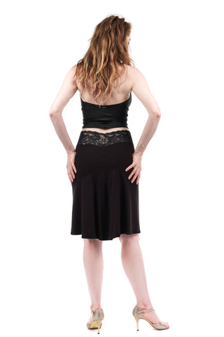 soft black embellished fluted skirt