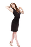 soft black embellished ruched dress - Poema Tango Clothes: handmade luxury clothing for Argentine tango