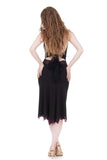 soft black fluted & embellished skirt - Poema Tango Clothes: handmade luxury clothing for Argentine tango
