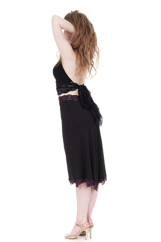 soft black fluted & embellished skirt