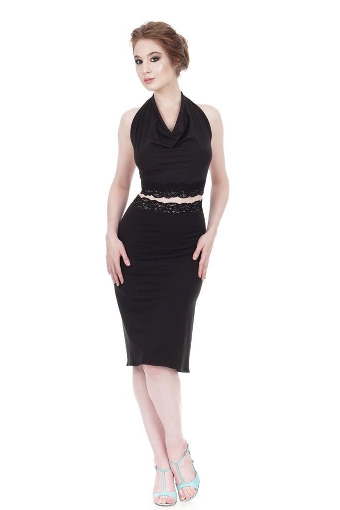 soft black ruched skirt - Poema Tango Clothes: handmade luxury clothing for Argentine tango