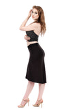 soft black skirt with side ruching - Poema Tango Clothes: handmade luxury clothing for Argentine tango