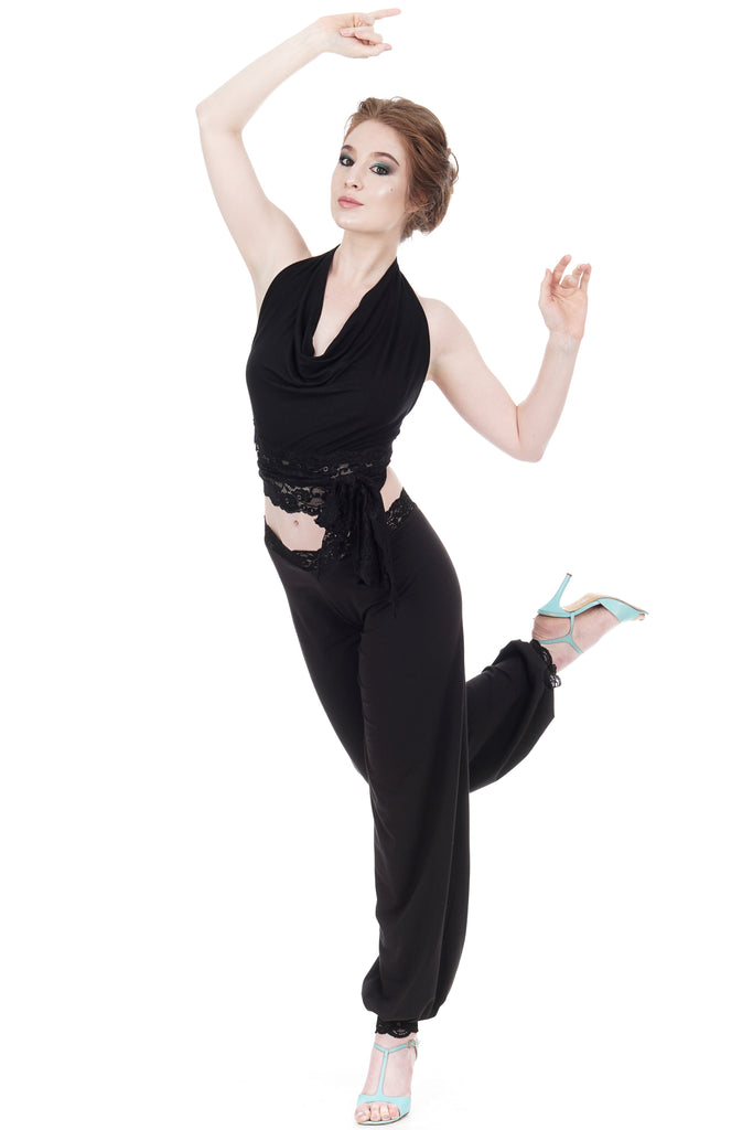 soft black tango trousers - Poema Tango Clothes: handmade luxury clothing for Argentine tango