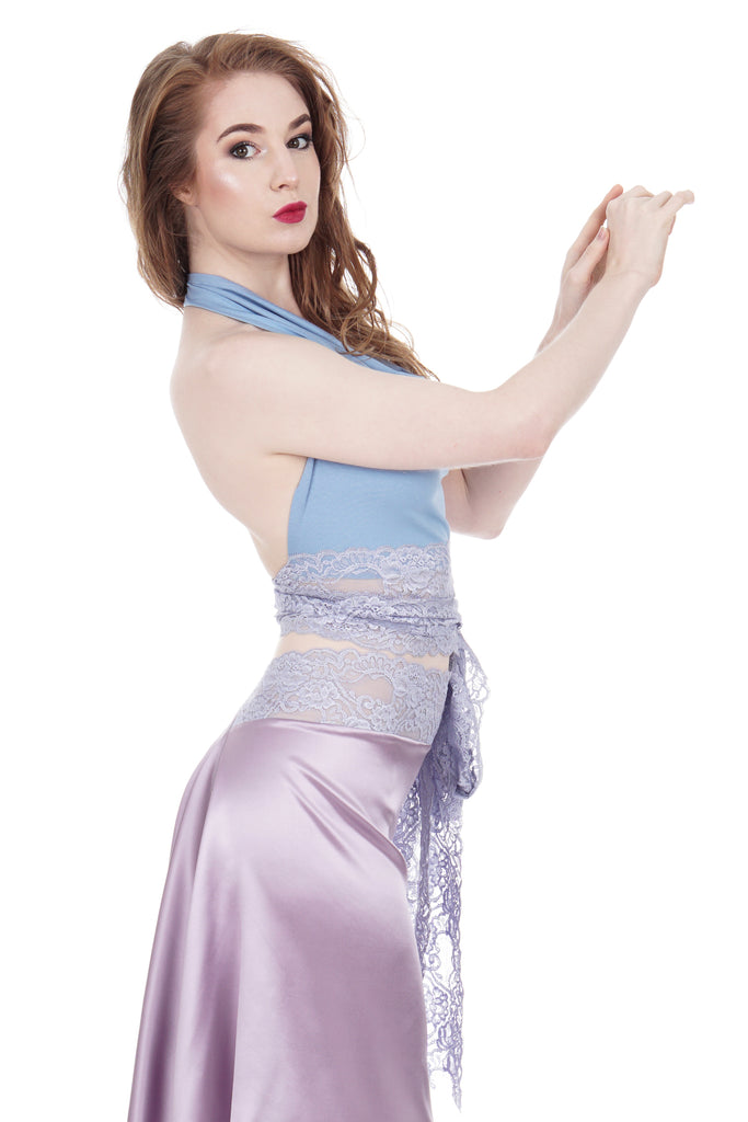 soft blue wrap top - Poema Tango Clothes: handmade luxury clothing for Argentine tango