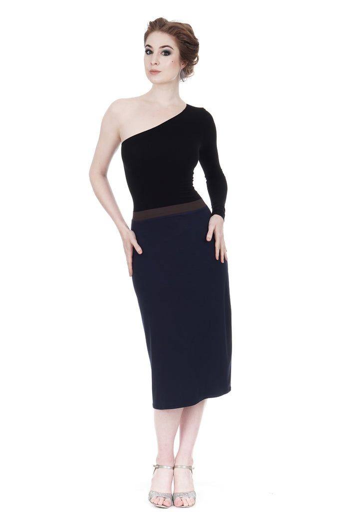 soft navy pencil skirt - Poema Tango Clothes: handmade luxury clothing for Argentine tango