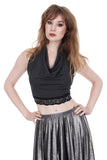 soft smoke & sequin wrap top - Poema Tango Clothes: handmade luxury clothing for Argentine tango