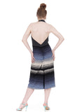 soft smoke & twilight ombre low-backed ruched dress - Poema Tango Clothes: handmade luxury clothing for Argentine tango