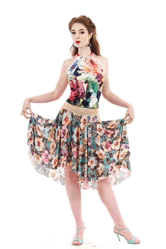 softly bouquet skirt - Poema Tango Clothes: handmade luxury clothing for Argentine tango