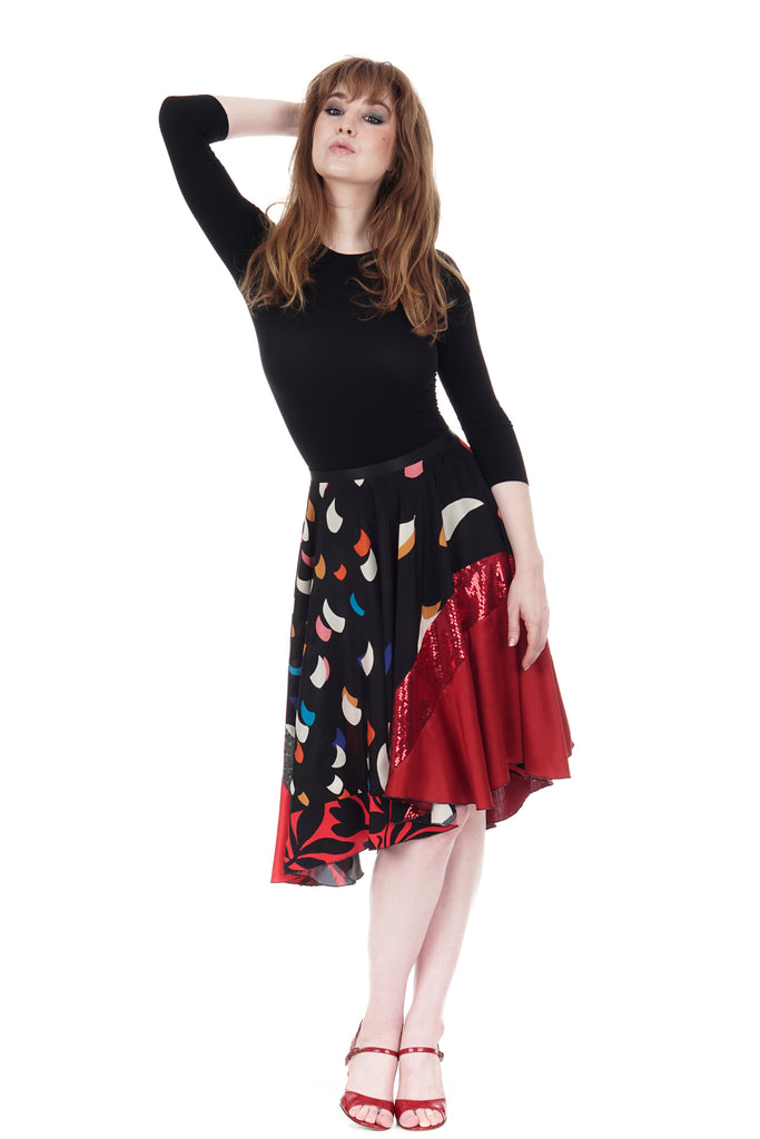spaceships & sequins skirt - Poema Tango Clothes: handmade luxury clothing for Argentine tango