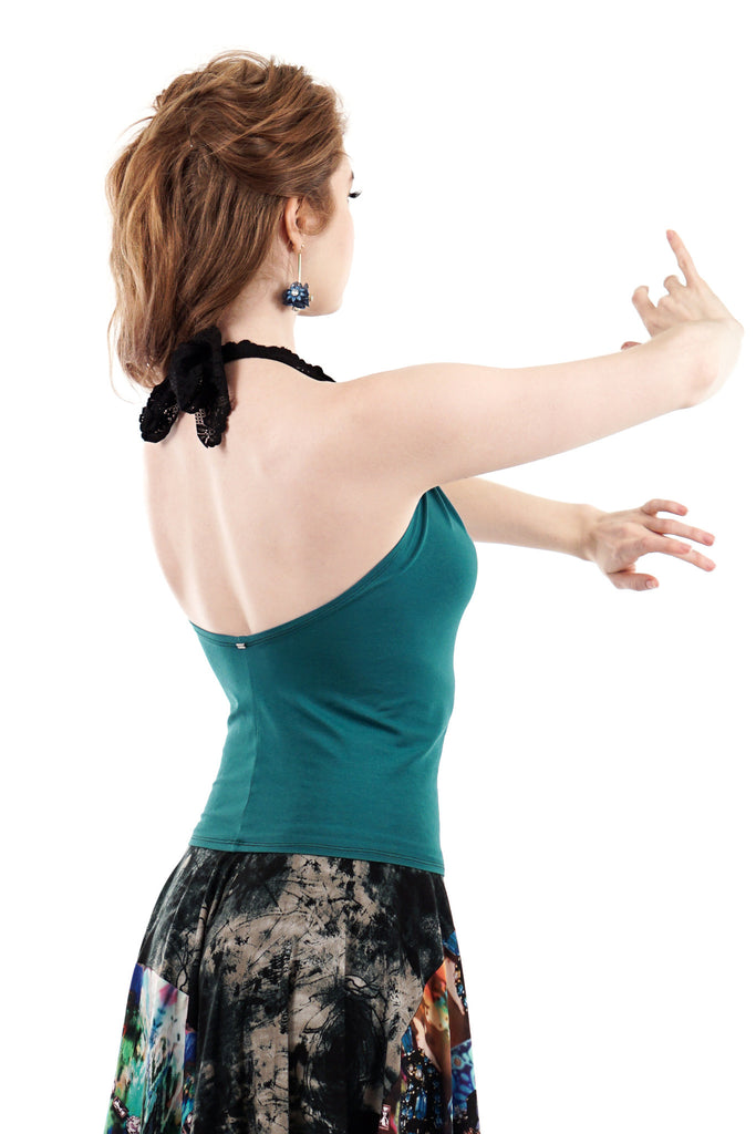 spruce halter - Poema Tango Clothes: handmade luxury clothing for Argentine tango
