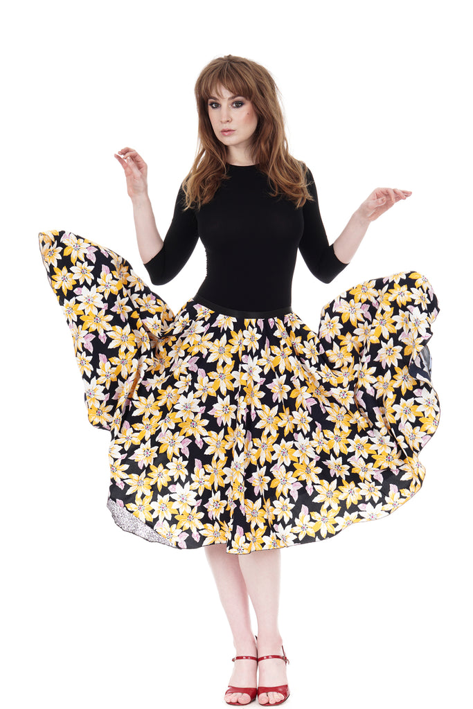 sun blossom crepe swing skirt - Poema Tango Clothes: handmade luxury clothing for Argentine tango