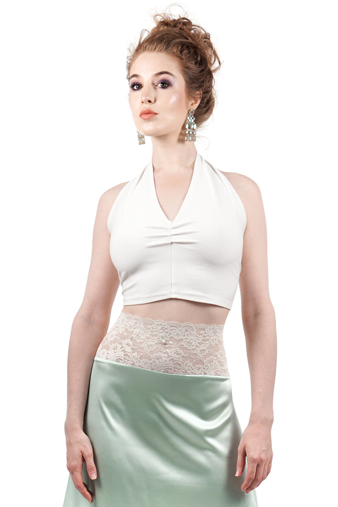 swan sport jersey halter top - Poema Tango Clothes: handmade luxury clothing for Argentine tango