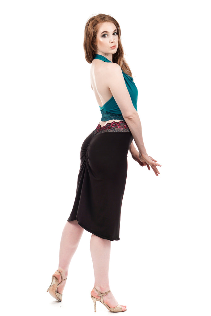 sweetrose & soft black ruched skirt - Poema Tango Clothes: handmade luxury clothing for Argentine tango