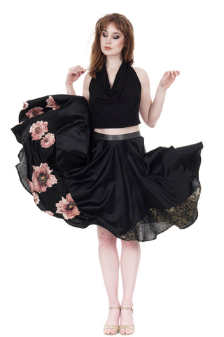 tatter blooms & embossed silk skirt