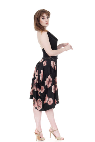 tatter blooms velour bustled skirt