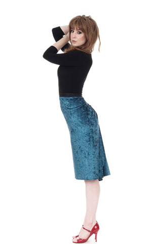 teal crushed velour ruched skirt