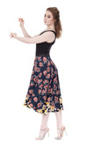 the ballet dress in soft black and cafe floral - Poema Tango Clothes: handmade luxury clothing for Argentine tango