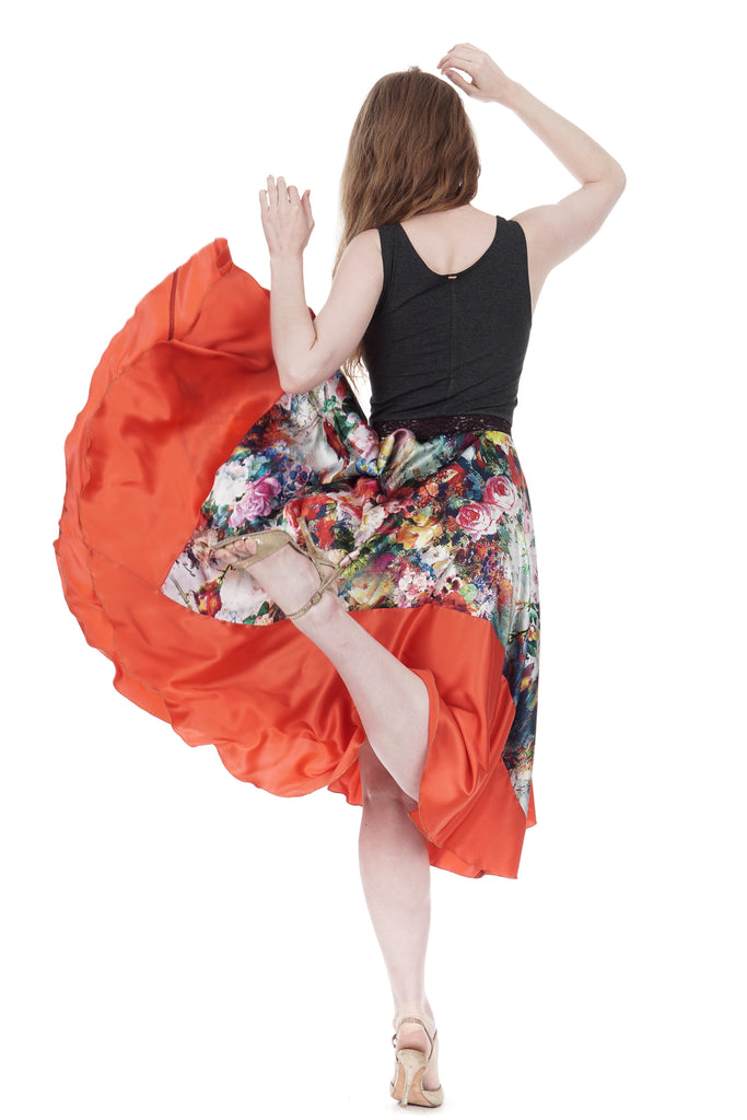 the ballet dress in wildflower & persimmon - Poema Tango Clothes: handmade luxury clothing for Argentine tango