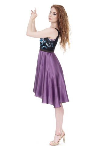 the petite ballet dress in amethyst silk & black porcelain