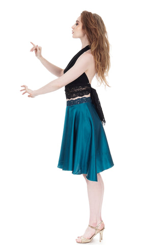 the short ballet skirt in turquoise silk - CLEARANCE