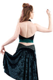the signature halter in ink and emerald - Poema Tango Clothes: handmade luxury clothing for Argentine tango