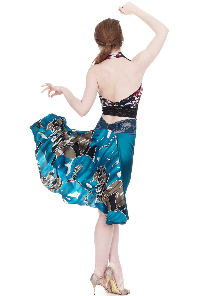 the signature skirt in aquamarine butterfly - Poema Tango Clothes: handmade luxury clothing for Argentine tango