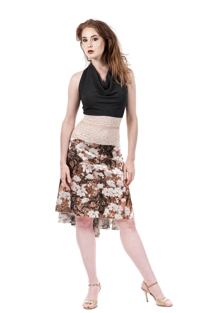 the signature skirt in autumn forest - Poema Tango Clothes: handmade luxury clothing for Argentine tango