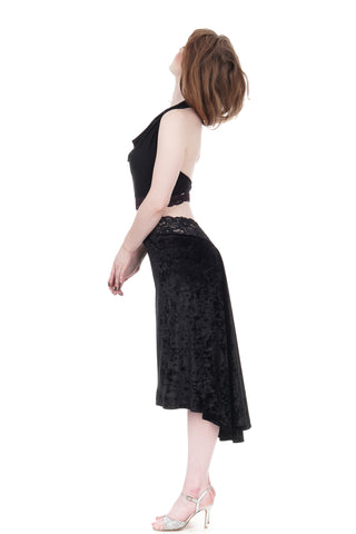 the signature skirt in black crushed velvet