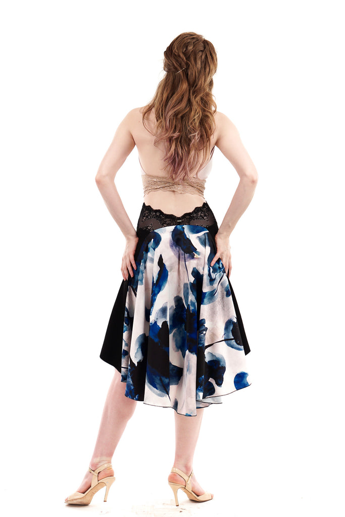 the signature skirt in black rust and artsilk satin - Poema Tango Clothes: handmade luxury clothing for Argentine tango