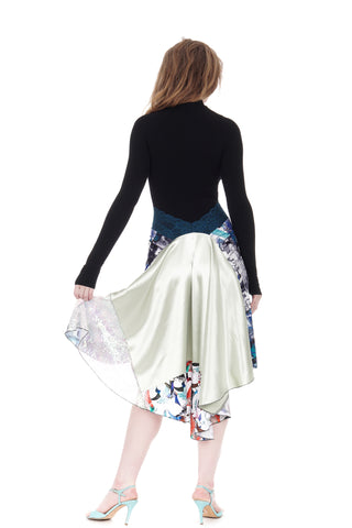 the signature skirt in blue palette & mixed silks