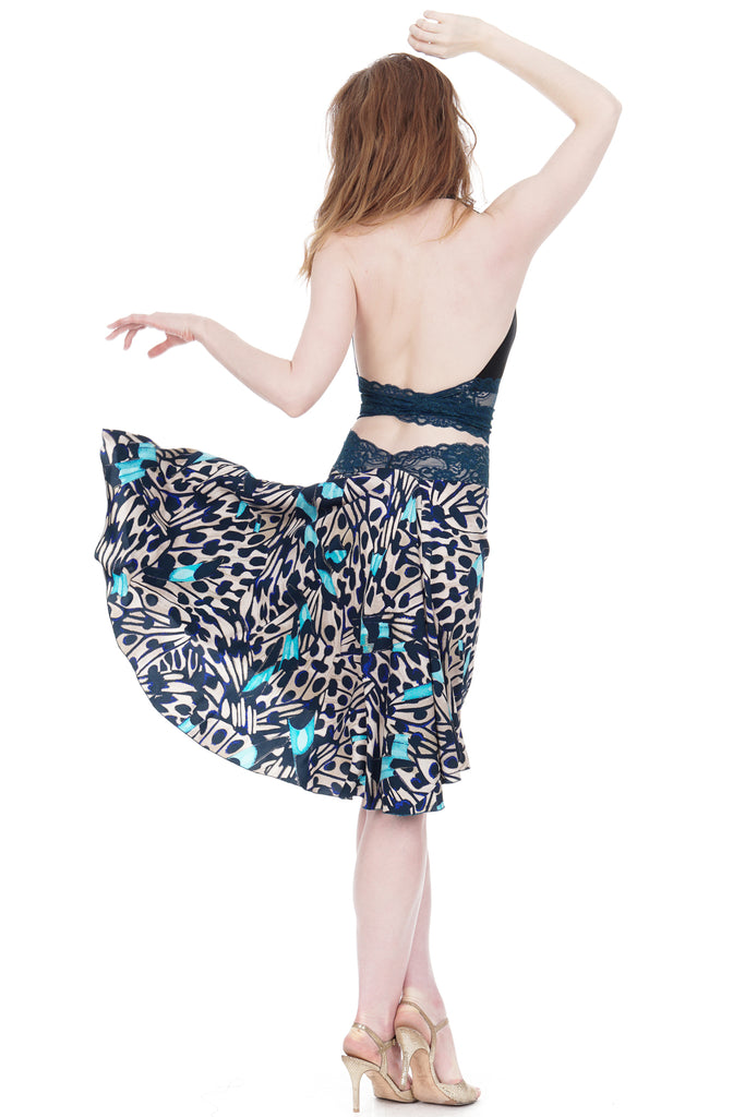 the signature skirt in butterfly wing - Poema Tango Clothes: handmade luxury clothing for Argentine tango